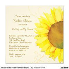 "Yellow Sunflower & Swirls Floral Bridal Shower 5.25"" Square Invitation Card"