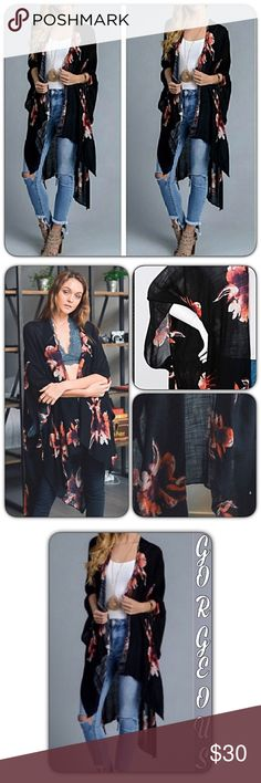 """Bohemian Lightweight Floral Kimono Wrap Coverup OS Wrap yourself in bohemian style & comfort in this stunning chic floral kimono. Open front with arm holes. Pair with tank & skinnies or works perfect as a robe/swim cover up. Available in black with rust floral print. 38"""" x 46"""" 100% viscose. One Size Fits Most Accessories Scarves & Wraps"""