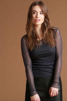 Seidentüllshirt dark blue #LANIUS #organicfashion Shops, Dark Blue, Long Hair Styles, Beauty, Fashion, Moda, Tents, Deep Blue, Fashion Styles