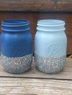 Blue Ombre Glitter Mason Jars - Perfect for Makeup Brushes, Toothbrush, Pens…