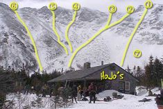 Tuckerman's Ravine 1 - The Duchess 2 - Hillmans Highway 3 - Hillmans Highway 4 - Dodge's Drop 5 - Cathedral Gully 6 - Boot Spur Gully 1 (Gully 2 & 3 further over) 7 - Lower Snowfield