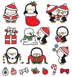 Premium-Vektor Clipart - Kawaii Weihnachten Pinguine - Cute Weihnachten Pinguine Clipart Set - hochwertige Vektoren - Kawaii Weihnachten ClipArts - I ❤ penguins - Animals Christmas Doodles, Christmas Cartoons, Christmas Drawing, Christmas Clipart, Christmas Art, Christmas Bunny, Christmas Thoughts, Xmas, Etsy Christmas