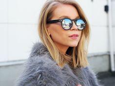 LACK OF COLOUR / Mirrored sunglasses / Faux Fur
