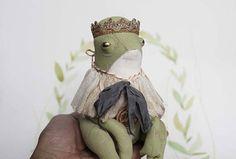 Fairytale Textile Art Doll Frog OOAK Primitive Folk Art Doll