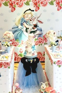 Swoon over this fabulous Alice in Wonderland birthday party! The dessert table is stunning! See more party ideas and share yours at CatchMyParty.com  #catchmyparty #partyideas #aliceinwonderland #aliceinwonderlandparty #girlbirthdayparty