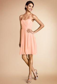 "Brides.com: Trending Now: Pretty Peach Bridesmaid Dresses. ""Blair"" convertible strapless sweetheart bridesmaid dress in peach fuzz, $189, Donna Morgan"