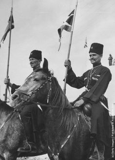 King Abdullah of Jordan's Cossack bodyguards on horseback. (Photo by George W. Hales/Fox Photos/Getty Images). 27th May 1947