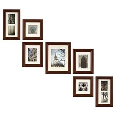 Features:  -Set includes 7-pieces walnut photo frame.  -Comes with an easy-to-hang template.  -Matting color is off-white.  Style: -Modern.  Color: -Walnut.  Material: -Wood.  Theme: -Standard.  Pictu