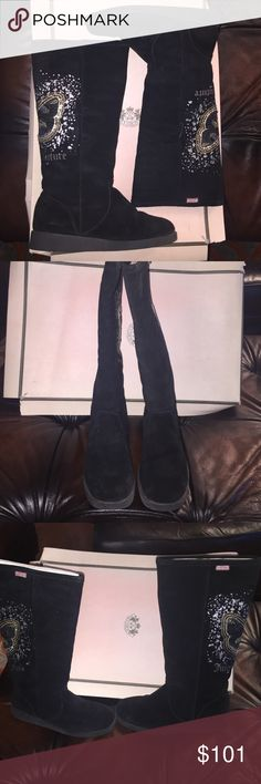 """Juicy Couture black suede embellished back boots Sequences back shearling lining inside tall boots pull up 1.5"""" platfoyin good condition some signs of wear retail$250 Juicy Couture Shoes Winter & Rain Boots"""
