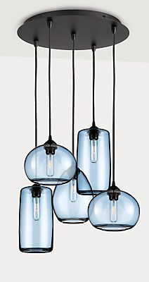 Sky Modern Glass Pendants, Group of Three or Five - Modern Pendants & Chandeliers - Modern Lighting - Room & Board Glass Pendant Shades, Pendant Chandelier, Ceiling Pendant, Modern Chandelier, Pendant Set, Glass Pendants, Chandelier Lighting, Ceiling Lights, Rustic Lighting