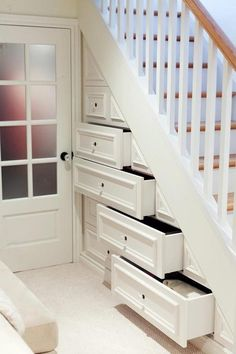 Basement Renovation Project by Urbanomic Interior Design , via Behance Basement Renovations, Home Remodeling, Small Basement Remodel, Small Basement Design, Stair Storage, Stair Drawers, Storage Drawers, Staircase Storage, Basement Storage