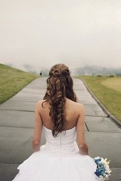 Wedding Hairstyles for Outdoor Weddings - Half Up, Half Down with Flowing Curls