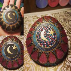 Painted rock. Moonstone. Mandala. Moonstone flower. Available in my Etsy shop!! RachelsRocksCanada