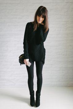 black pullover sweater - black leggings - black ankle boots - black crossbody bag | un-fancy.com