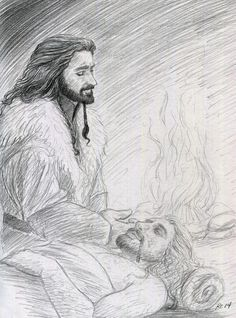 Fate Be Changed - Chapter 9 - ofahattersmind - The Hobbit - All Media Types [Archive of Our Own] Hobbit Art, O Hobbit, Injured Pose Reference, Bagginshield, Fili And Kili, Tolkien Books, Thorin Oakenshield, Archive Of Our Own, Drawing Techniques