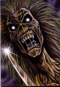 Aceo Iron Maiden Card 1 by taplegion on DeviantArt Heavy Metal Bands, Heavy Metal Art, Acrylic Artwork, Metal Artwork, Iron Maiden Band, Eddie Iron Maiden, Iron Maiden Mascot, Iron Maiden Posters, Eddie The Head