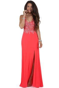 Raquel Neon Coral Jeweled Prom Dress