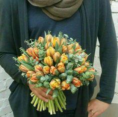 Tulips and eucalyptus