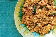 Quinoa with Grilled Zucchini, Garbanzo Beans, and Cumin Recipe  | Epicurious.com