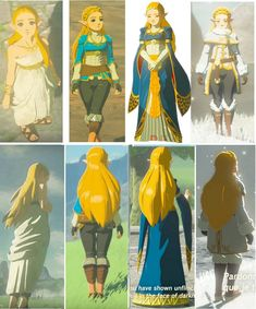 Princess Zelda Breath of The Wild all costumes #zelda #thelegendofzelda #breathofthewild #princesszelda #princesszeldacostumes