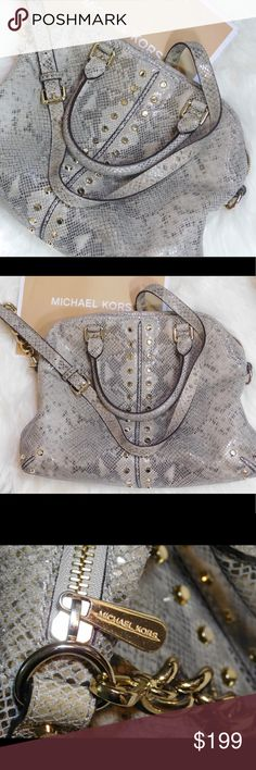"""Authentic Michael Kors Uptown Astor Leather Bag GUARANTEED AUTHENTIC! #A1-1205 RETAIL: $398 BRAND: MICHAEL KORS MATERIAL: Genuine Leather (Python) CONDITION: Like-New (no real signs of wear-mint inside & out including bottom MEASUREMENTS: 13""""L 11"""" Tall 6""""W --Golden tone hardware & studding on exterior --2 rolled leather handbag handles --Longer detachable/adjustable shoulder strap --Top zipper closure --Michael Kors signature interior lining w/ slip pockets & zip pocket --Great condition…"""