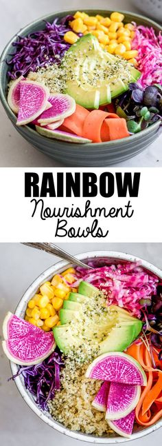 These rainbow nourishment bowls with maple tahini dressing are a healthy, nutritious and vegan meal. you won't believe how easy they are to put together!