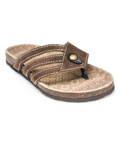 Love this Brown Ginger Strappy Suede Sandal by MUK LUKS on #zulily! #zulilyfinds