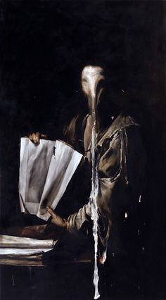 "Nicola Samori (b. 1977). Neo-Baroque? Nicola works out of Italy, and he's managed to nail the style of the Old Masters, all painted now, in the modern era, in his studio. See, once he's finished with a painting, or once he's adapted one that's been previously created, he takes a scalpel to it, a spatula, or a square of sandpaper, and begins to peel it apart.  Sometimes the ""destruction"" of the images asks the audience to think about what, exactly, the painting communicates when it's whole."