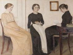Vilhelm Hammershøi (1864-1916), Three Young Women, Ribe Kunstmuseum, 1895, ...