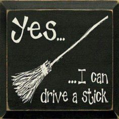 Why yes i can drive a stick. I actually can't but I love Witchy Halloween decor! Halloween Imagem, Fete Halloween, Holidays Halloween, Halloween Crafts, Happy Halloween, Halloween Humor, Halloween Quotes, Halloween Stuff, Diy Halloween Signs
