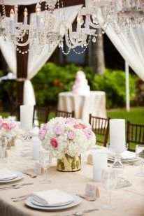 Gorgeous wedding dining canopy by Moana Events #peony #flower #pink #white #turtlebay #hawaii
