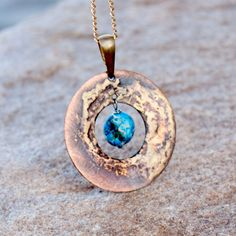 Jasper pendant,copper necklace,B957, blue jasper ,Copper in pendants,bib necklace,gift for her,handmade necklase,geometric, circle by Artseko on Etsy