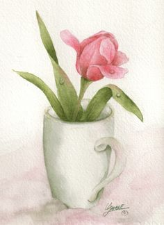 This tulip was in a photo with hundreds of tulips given to me by Anita. I had this simple white mug and it just seemed to go together.