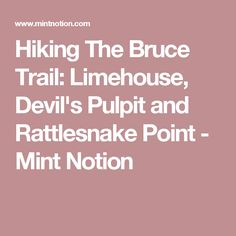 Hiking The Bruce Trail: Limehouse, Devil's Pulpit and Rattlesnake Point - Mint Notion Backpacking Tips, Natural Wonders, Hiking Trails, Niagara Falls, Ontario, Devil, Destinations, Mint, Travel Destinations