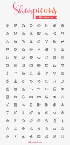 120 Line Vector Icons Freebie on Behance