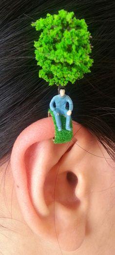 Thinking Man Ear Clip / Miniatures Ear Clip / Ear Cuff / Custom Ear Clip / Unisex Ear Clip / Models Ear Clip / Plastic Ear Clip /Unique
