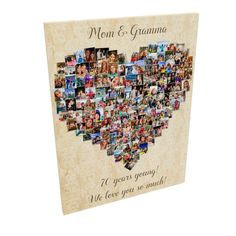 Sending this off to print now! with 135 photos. 70th Birthday, Happy Birthday, Birthday Collage, Photo Heart, Grandma Gifts, Engagement Photos, Wedding Photos, Etsy, Happy Brithday