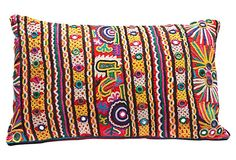 """Colorful Stitched Lumbar Pillow  17""""L x 10""""W x 4""""H ($220.00)  $89.00 OneKingsLane.com This is Mine!!! Kutch Work Saree, Embroidery Patterns, Hand Embroidery, Mirror Work, Lumbar Pillow, Interior Design Inspiration, Cushion Covers, Textile Art, Stools"""