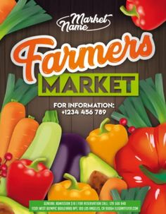 Download the Farmers Market Free Flyer Template! - Free Business Flyer, Free Community Flyer, Free Flyer Templates, Free Poster Templates - #FreeBusinessFlyer, #FreeCommunityFlyer, #FreeFlyerTemplates, #FreePosterTemplates - #Bio, #Farm, #Farmers, #Food, #Fresh, #Market, #Organic