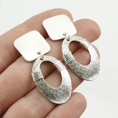 Square with Wire-Wrapped Oval Ring Earring – Marjorie Baer Accessories Wire Earrings, Earrings Handmade, Handmade Jewelry, Metal Jewelry, Silver Jewelry, Precious Metal Clay, Designer Earrings, Jewelry Design, Jewelry Ideas