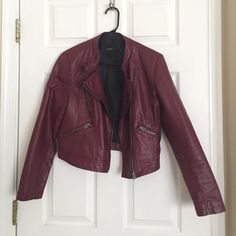 Red faux Leather Jacket Worn 3 times, it's in excellent condition! Forever 21 Jackets & Coats