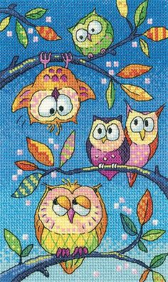 Counted cross stitch kit by Heritage Crafts, designed by Karen Carter.  The kit includes fabric, pre-sorted threads, needle, chart and full instructions.  A collection of very colourful owls keeping a watchful eye. - Available from Johnson Crafts http://www.johnsoncrafts.co.uk/birds-of-a-feather-hanging-around.html