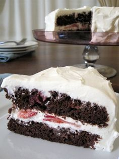 Gluten-Free, Refined Sugar-Free Chocolate Strawberry Cake with Whipped Cream Cheese Frosting