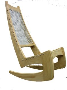 High backed rocking chair in ash with woven sailing cord upholstery designed by Jeremy Broun in 192