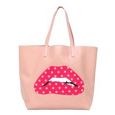 Large Mouth Appliqué Leather Tote Bag by RED Valentino