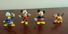LOT-4-Walt-Disney-Figures-PVC-Toy-Mickey-Minnie-Pluto-Donald-Duck-cake-topper