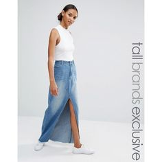 Daisy Street Tall Split Front Denim Maxi Skirt ($39) ❤ liked on Polyvore featuring skirts, blue, pocket skirt, blue denim skirt, tall skirts, long blue skirt and maxi skirts