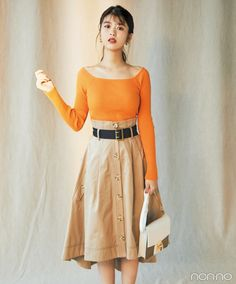 Fumika Baba: Now the proud owner of this year's top mag spread. Beige Skirt, Japanese Girl, Female Bodies, Style Guides, Cute Girls, High Waisted Skirt, Summer Outfits, Womens Fashion, Fashion Trends
