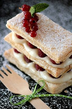 Lemon raspberry mille feuilles. I would probably use strawberries or apples and be creative with the filling but it looks SO good.