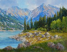 'Queen Elizabeth Range, Medicine Lake' x Oil on Panel by Mountain Galleries artist Jean Geddes Canadian Painters, Canadian Artists, Jasper Park, Magic Realism, Mountain Landscape, Abstract Expressionism, Rock Art, Landscape Paintings, Scene